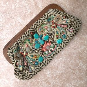 Beaded and embroidered clutch